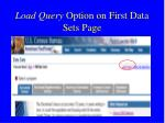 load query option on first data sets page