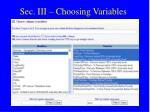 sec iii choosing variables