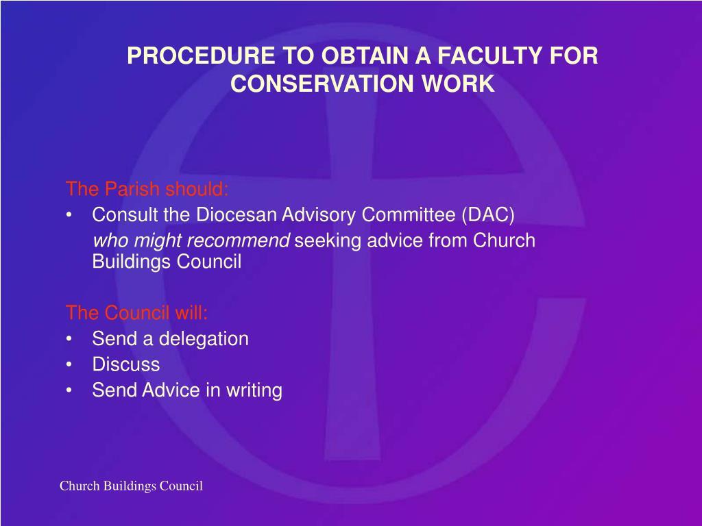 The Parish should: