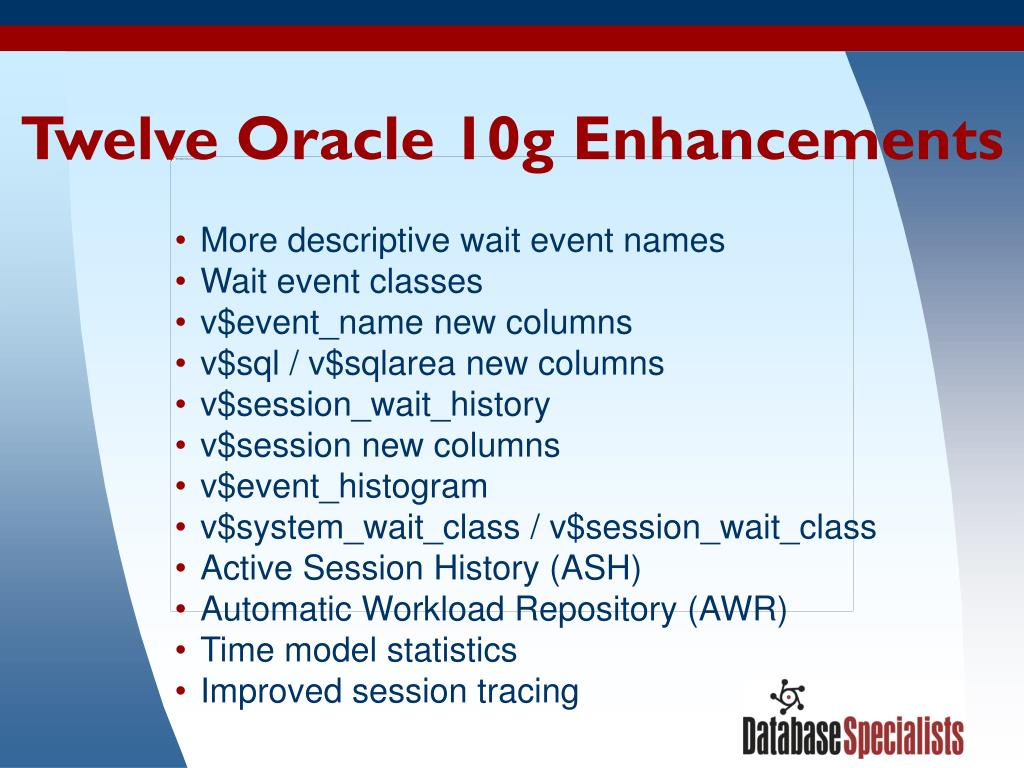 Twelve Oracle 10g Enhancements