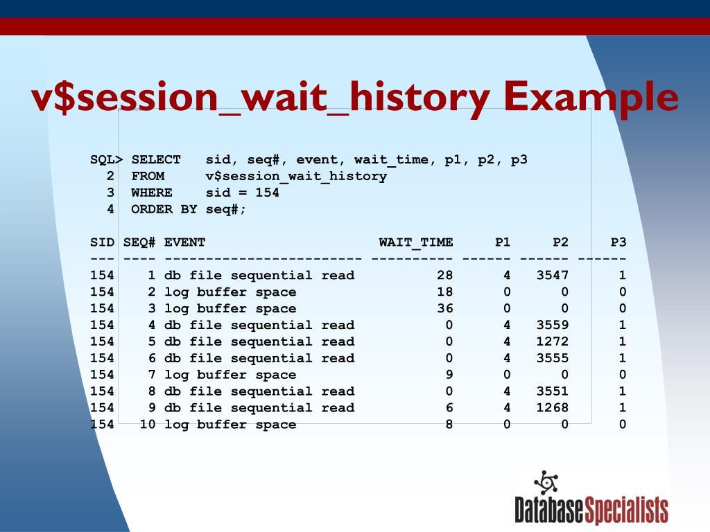 v$session_wait_history Example