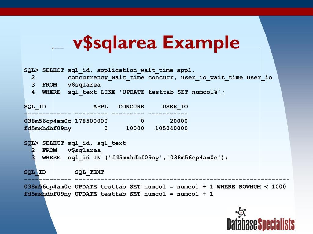 v$sqlarea Example