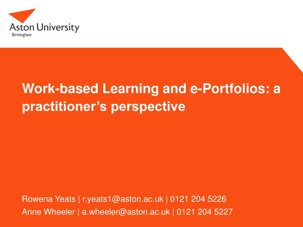 work based learning and e portfolios a practitioner s perspective l.