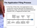 the application filing process