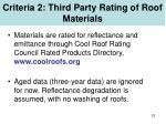 criteria 2 third party rating of roof materials