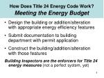 how does title 24 energy code work meeting the energy budget