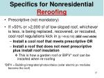 specifics for nonresidential reroofing