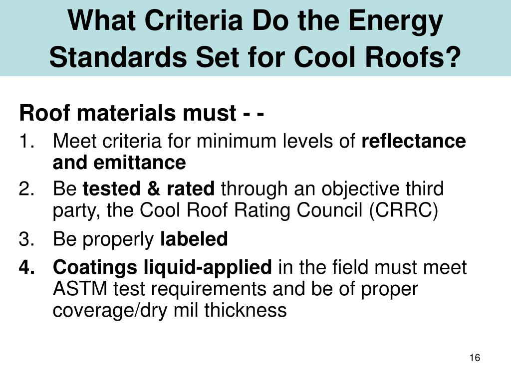 What Criteria Do the Energy Standards Set for Cool Roofs?