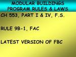 modular buildings program rules laws