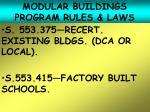 modular buildings program rules laws20