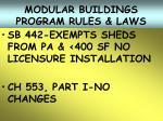 modular buildings program rules laws21
