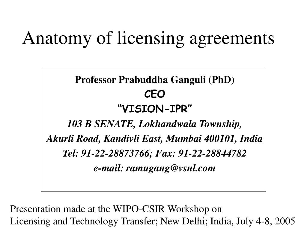 anatomy of licensing agreements l.