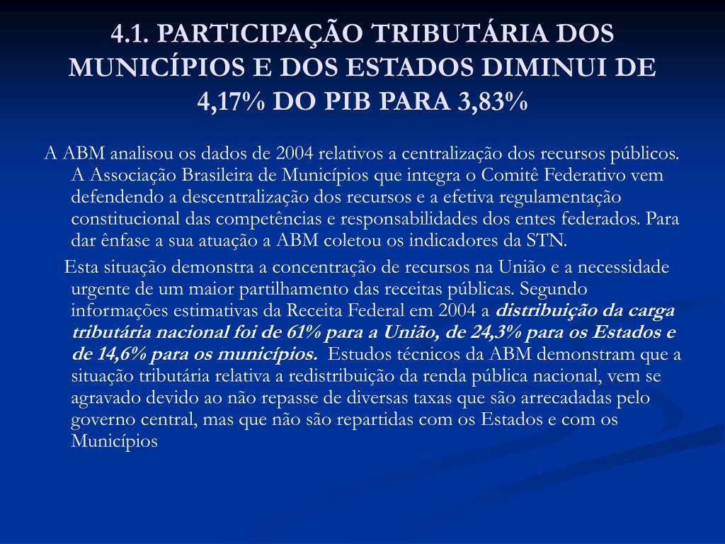 4.1. PARTICIPAÇÃO TRIBUTÁRIA DOS MUNICÍPIOS E DOS ESTADOS DIMINUI DE 4,17% DO PIB PARA 3,83%
