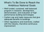 what s to be done to reach the ambitious national goals