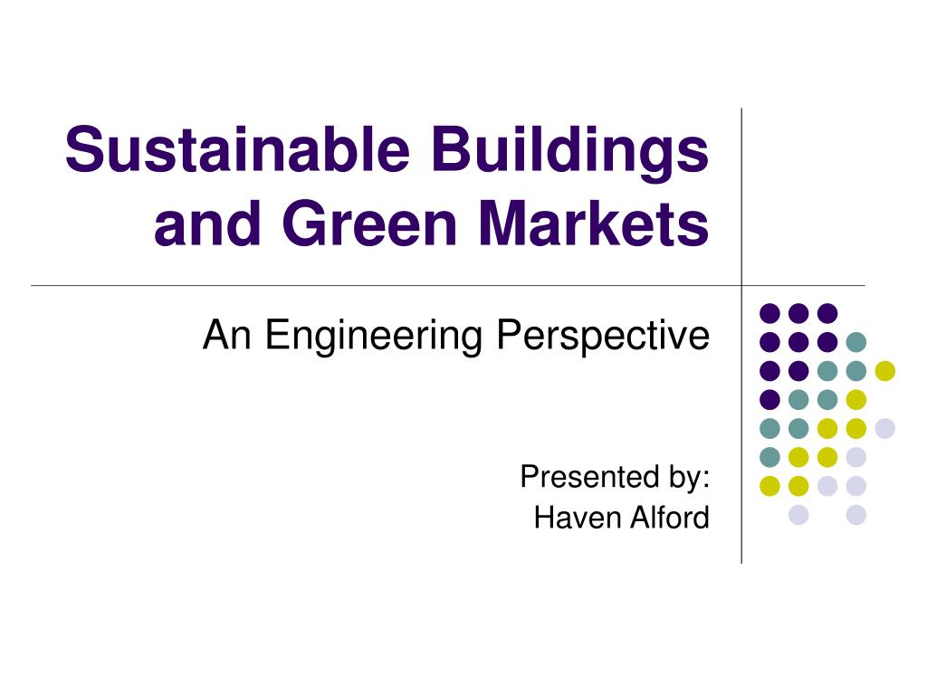 sustainable buildings and green markets l.