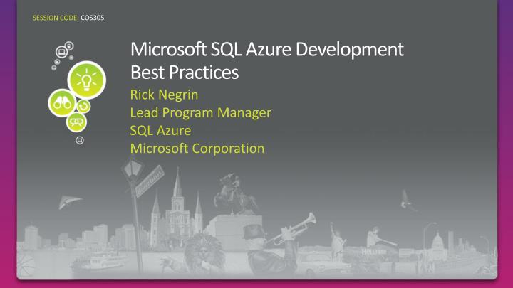 microsoft sql azure development best practices n.