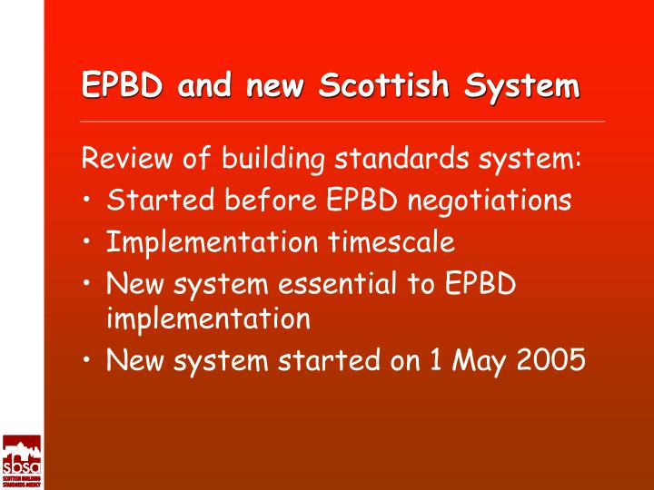 EPBD and new Scottish System
