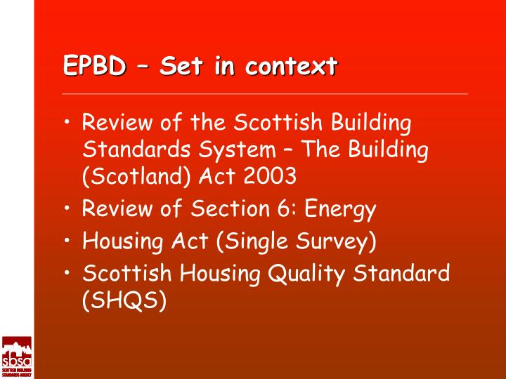 Epbd set in context