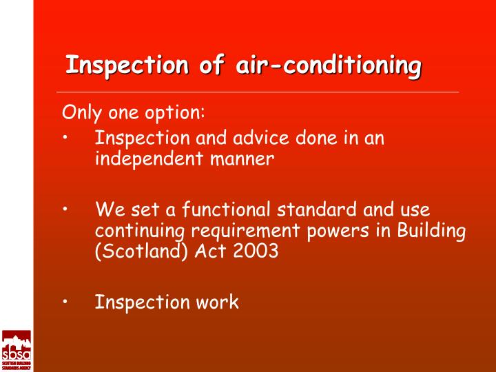 Inspection of air-conditioning