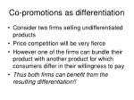 co promotions as differentiation