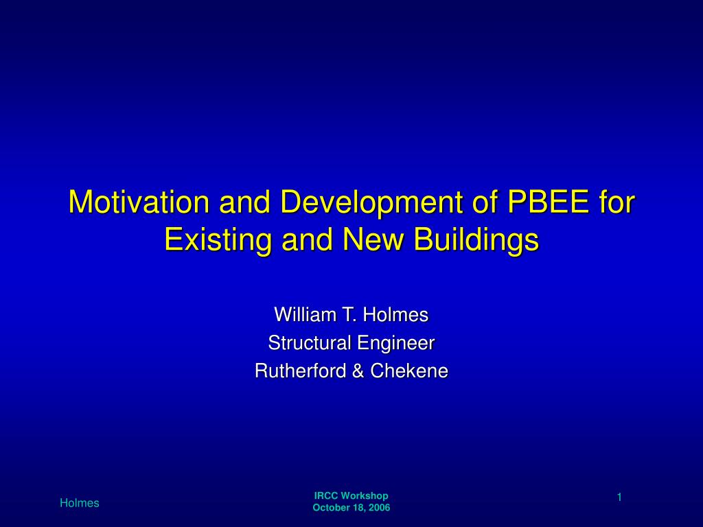 motivation and development of pbee for existing and new buildings l.