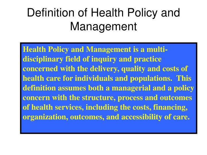 Who definition of health policy