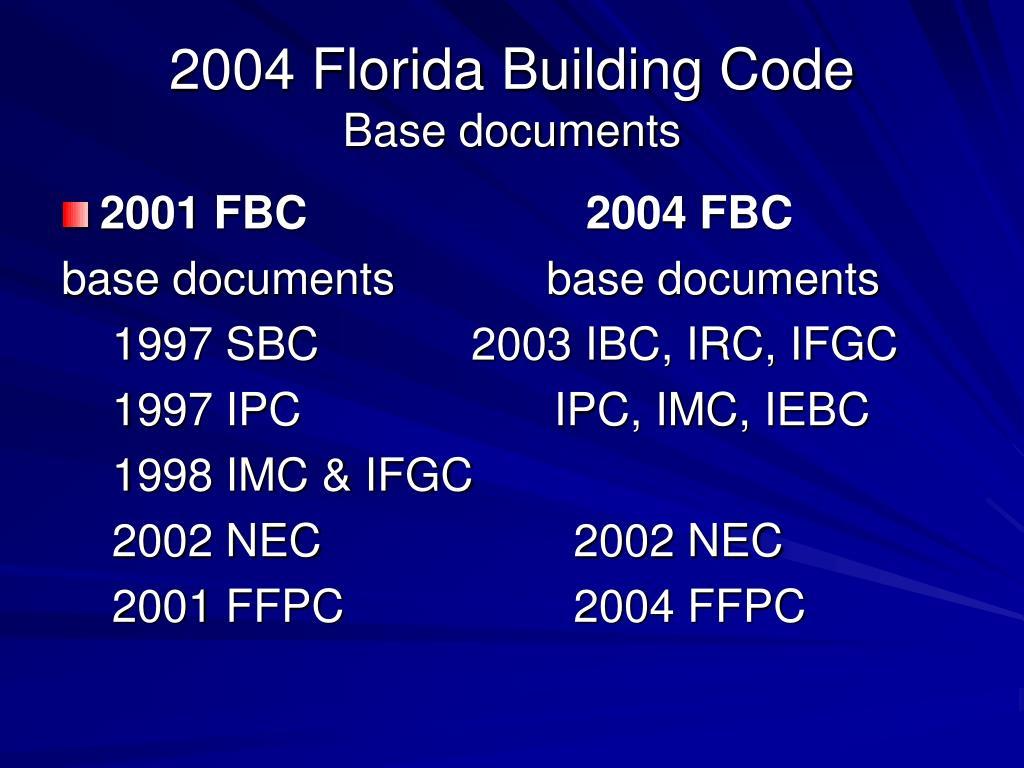 2004 florida building code base documents l.
