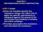 chapter 7 fire resistance rated construction