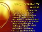 energy available for release