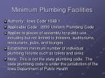 minimum plumbing facilities