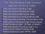 the state building code is based upon the following codes