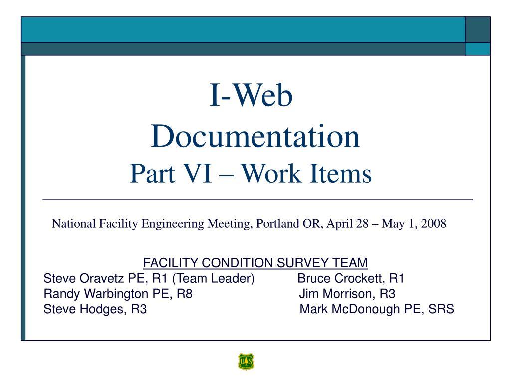 i web documentation part vi work items l.