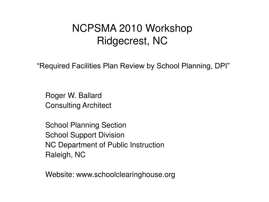 ncpsma 2010 workshop ridgecrest nc l.