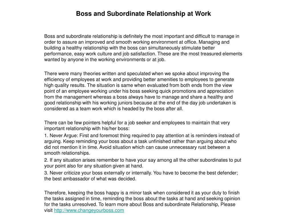 boss and subordinate relationship at work l.