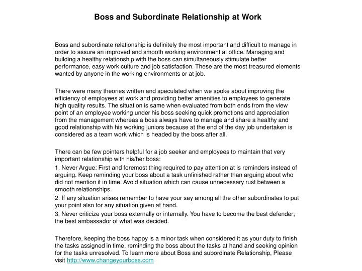 Boss and subordinate relationship at work
