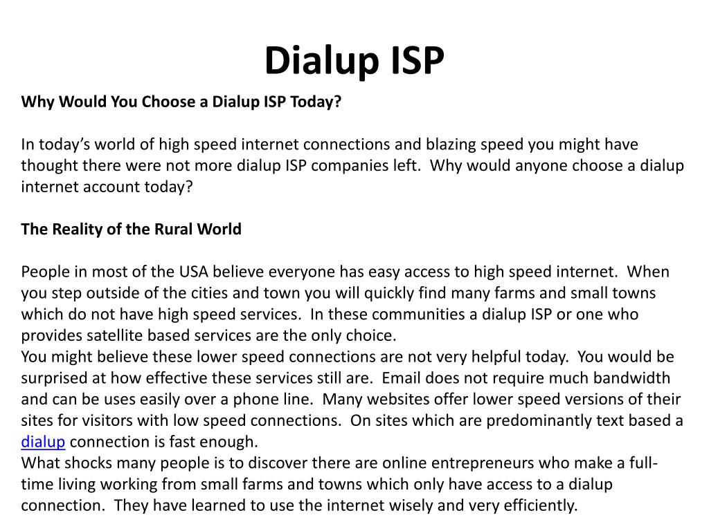 dialup isp l.