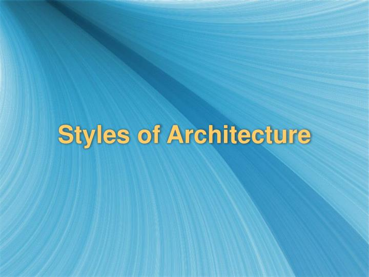 styles of architecture n.