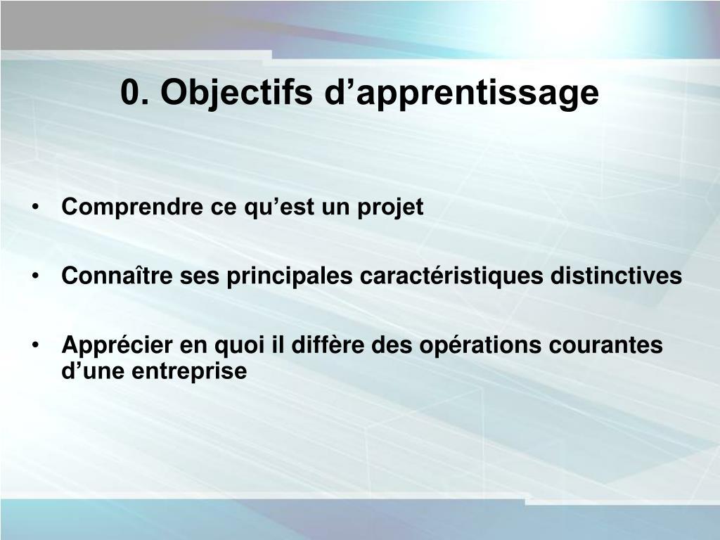 0. Objectifs d'apprentissage