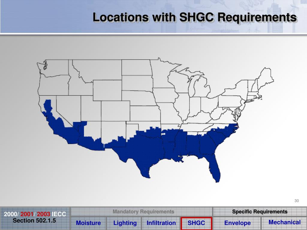 Locations with SHGC Requirements