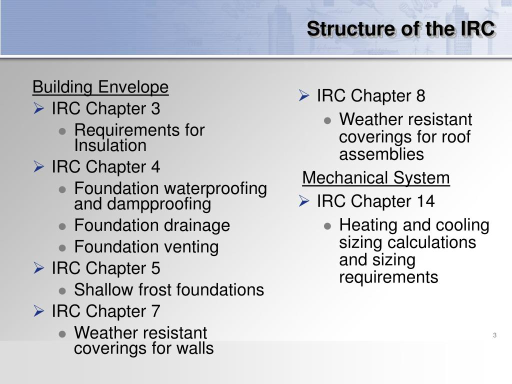 Structure of the IRC