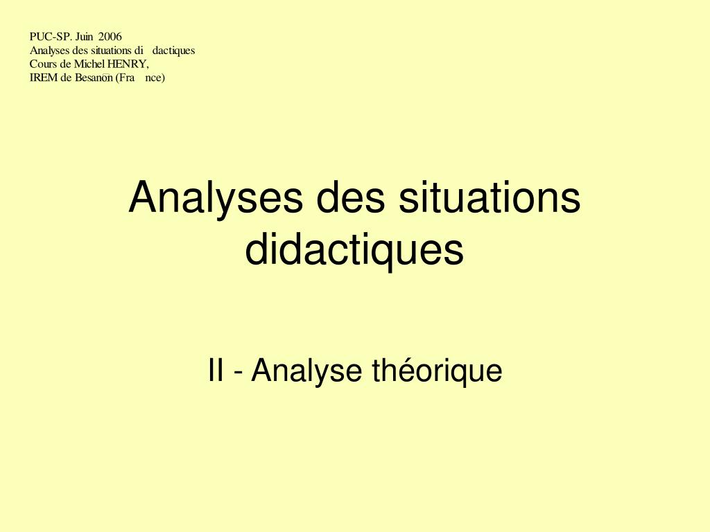 analyses des situations didactiques l.
