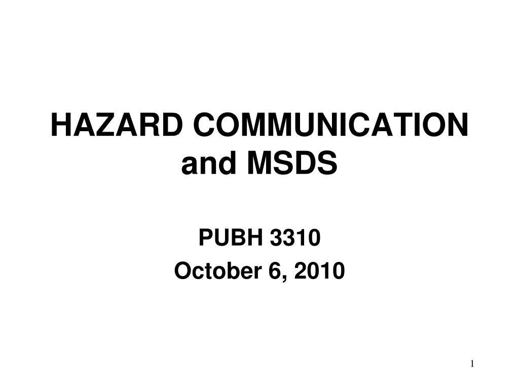 hazard communication and msds l.