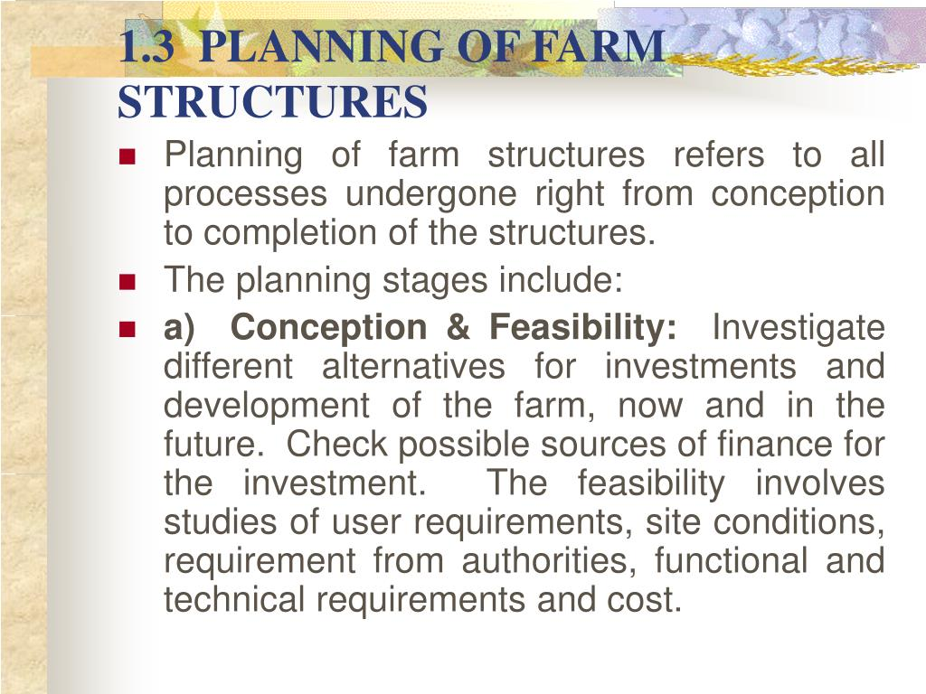 1.3  PLANNING OF FARM STRUCTURES