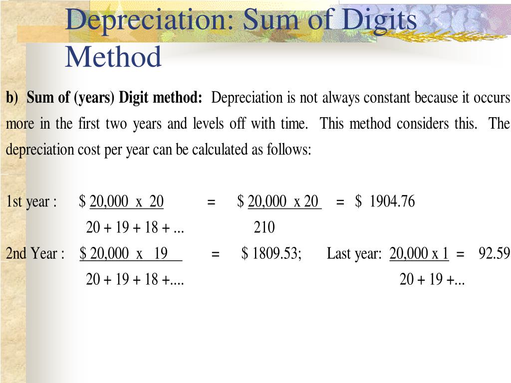 Depreciation: Sum of Digits Method