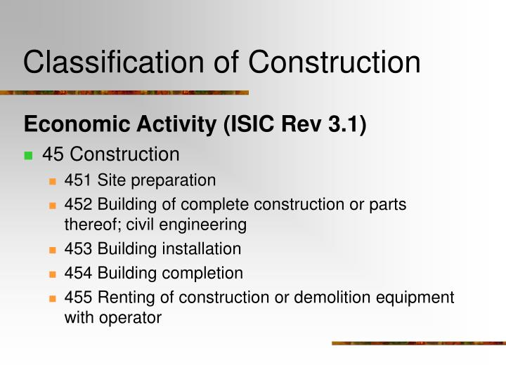 Classification of construction