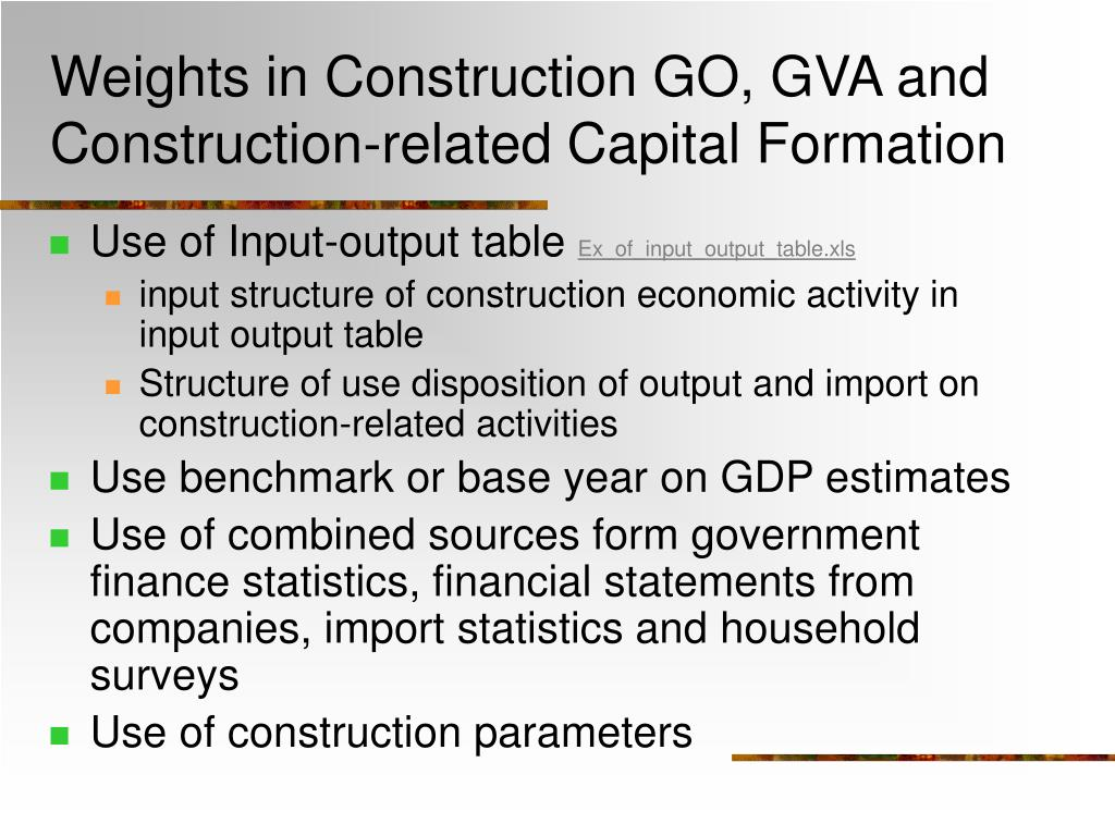 Weights in Construction GO, GVA and Construction-related Capital Formation
