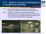 g11 built in car park belonging to a residential building