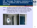 g8 storage burglary resistance of doors windows and ventilation openings