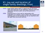 k1 lay out and location of single family dwellings front