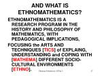 and what is ethnomathematics